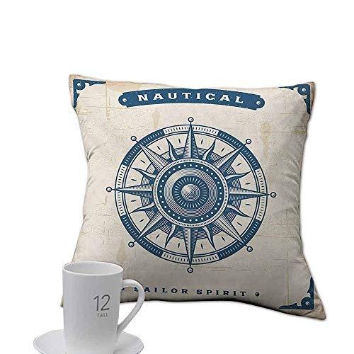 Glifporia 100% Polyester Pillow case Compass,Compass Illustration with Lettering Nautical Ocean Adventure Themed Print,Night Blue Beige.jpg 14