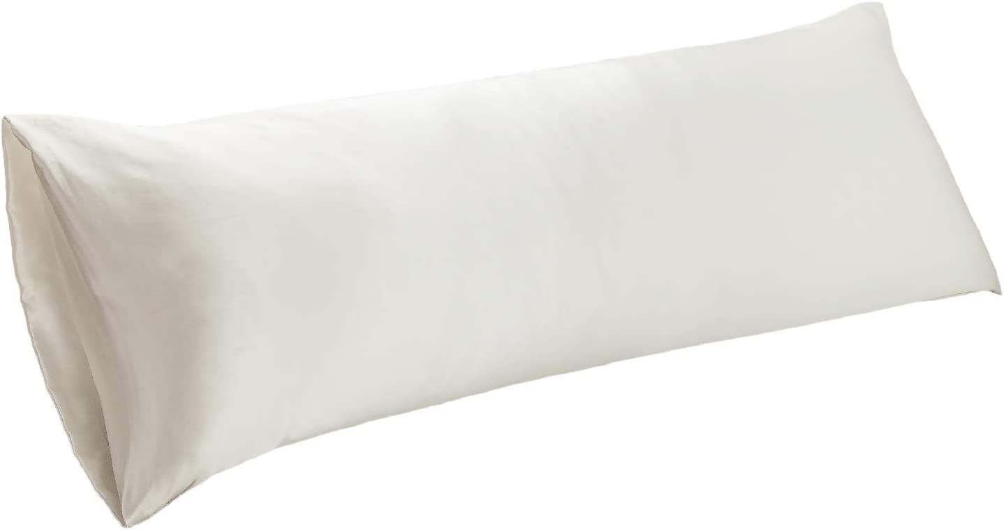 Bedsure Body Pillow Cover Ivory 20 x 54 inches - Super Soft Silky Satin Body Pillowcase - Envelope Closure Body Pillow Pillowcase for Adults Pregnant Women