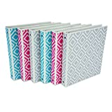 Samsill Fashion Print 3 Ring Binder, Digi Diamond Design, 1 Inch Round Rings, Assortment - Turquoise, Pink, Silver - 6 Pack