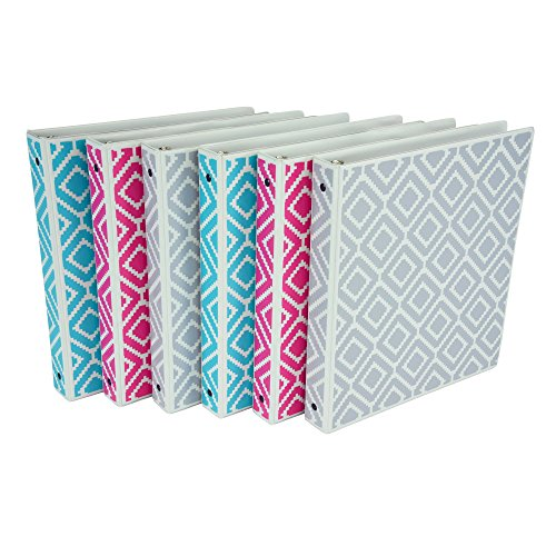 Samsill Fashion Print 3 Ring Binder Assortment - Turquoise, Pink, Silver - 6 Pack