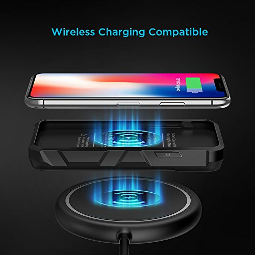 EasyAcc Wireless Battery Case for iPhone X, 5000 mAh Extended Battery Charger Case for iPhone 10 - Black by EasyAcc (Image #1)