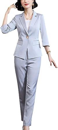 LISUEYNE, completo da donna in due pezzi, giacca blazer e pantaloni, ideale per il lavoro e da ufficio