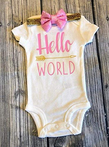 6124ae3d5 Hello World Bodysuit - Baby Bodysuit - Newborn Bodysuit - Coming Home Outfit  - Baby girl Coming home outfit - babyshower gift - Newborn outfit - baby  girl ...