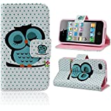 Lookatool Cute Sleeping Owl Flip Leather Case Cover For Apple iPhone (iPhone 5 5G 5S)