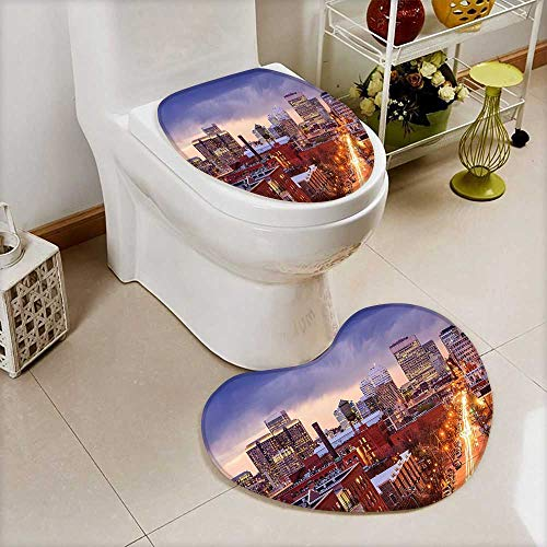 L-QN Non-Slip Bath Toilet Mat Richmond Virginia Highway Office Buildings Downtown at Dusk Urban Lifestyle Multicolor in Bathroom Accessories (Ikea Rugs Richmond)