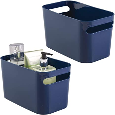 Amazon Com Mdesign Deep Plastic Bathroom Vanity Storage Bin With Handles Organizer For Hand Soap Body Wash Shampoo Lotion Conditioner Hand Towel Hair Brush Mouthwash 10 Long 2 Pack Navy