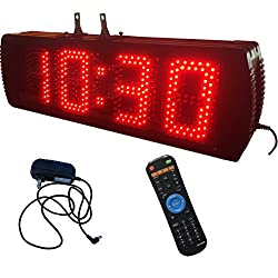 Red Color Double Sided Large LED Wall Clock 5 High 4 Digits LED Digital Clock with Countdown/up Function Support 12/24 Hour Display IR Remote Control Ultra Brightness For Outdoor and Semi-outdoor