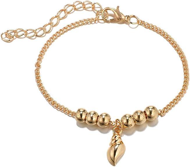 KnSam Beach Anklet Bracelet Chain for Women Gold Alloy Tassel Pearl Chain Men Anklet