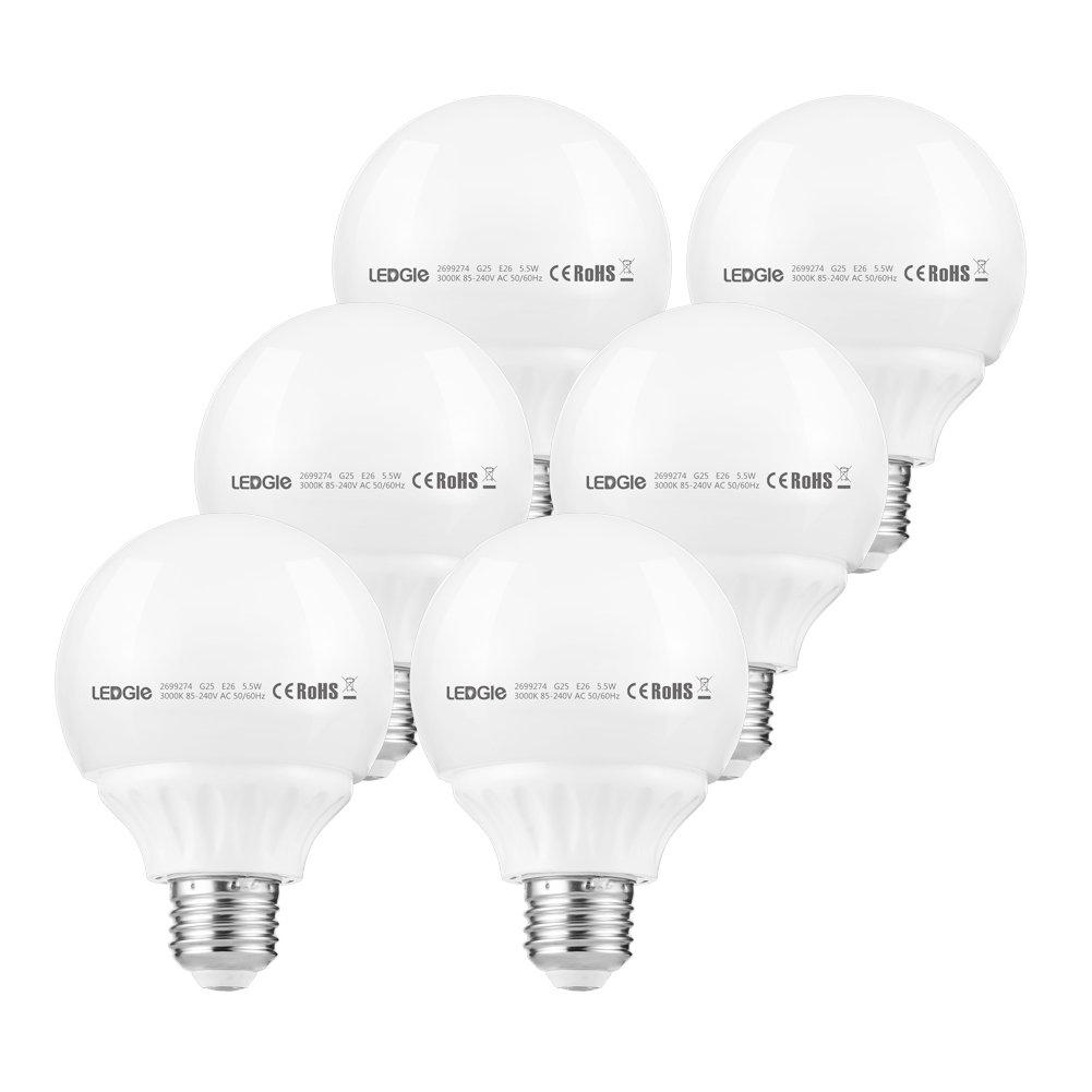 LEDGLE Ampoule LED Globe E27 G25, 5.5W 500 Lumens (é quivalent 50W ), Blanc Chaud 3000K, Lot de 6 5.5W 500 Lumens (équivalent 50W ) NICESEASON