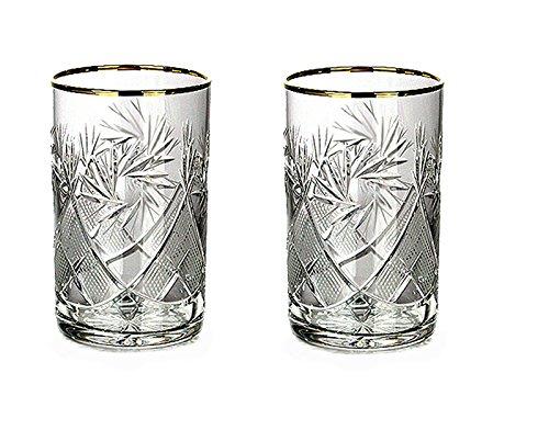 Neman Glassworks Russian Cut Crystal Tea Glass for Hot & Cold Beverages (8.5 oz), 24K Gold Rimmed Glassware fits Metal Holder Podstakannik, Vintage Soviet USSR (2)