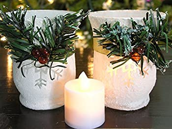 Holiday LED Snowflake Candles-Set of 2 - Red Berries, Garland Wrap White Glittery Candle Holders - Includes 2 LED Flameless Votive Candles - Christmas Decorations - Christmas Centerpieces
