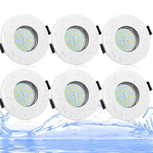 Bojim Foco empotrable IP44 baño GU10 blanco neutro 4500K, 6x 6W 600lm =54W halógeno, 230V LED Luz de Techo, 18 x 2835…