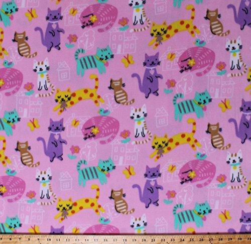 Fleece Cats Kittens Flowers Birds Butterflies Houses Pets Animals Colorful Housecats Pink Kids Children's Girls Fleece Fabric Print by the Yard (k43429-2b) (Cat Print Fleece Fabric)