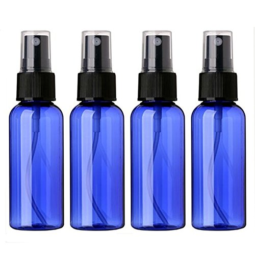 Empty Plastic Fine Mist Spray Bottle 50ML(Less Than 2oz.) Sinide Pump Refillable Cosmetic Perfume Atomizer Perfect for Essential Oils (Pack of 4) (Blue)