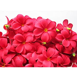"(100) Red Hawaiian Plumeria Frangipani Silk Flower Heads - 3"" - Artificial Flowers Head Fabric Floral Supplies Wholesale Lot for Wedding Flowers Accessories Make Bridal Hair Clips Headbands Dress 15"