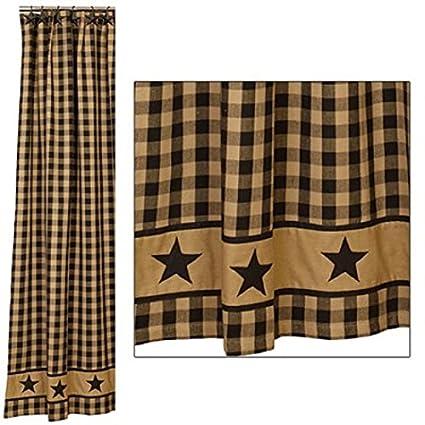 Rustic Primitive Black Country Star Shower Curtain Western Farmhouse Decor
