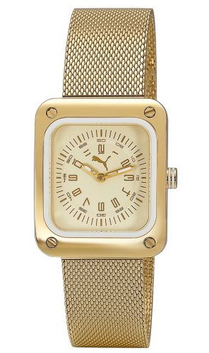 Puma Time Women's Quartz Watch Frame Metal Gold PU102562003 with Metal Strap