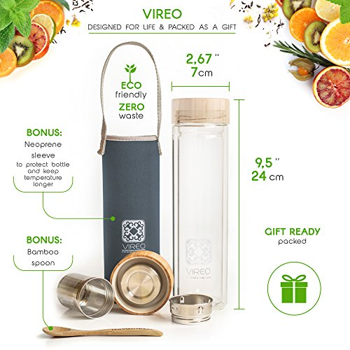 -[ Tea Infuser Double-Wall Glass Water Bottle: VIREO Coffee Mug with Bamboo Plastic-free Cap | 450m