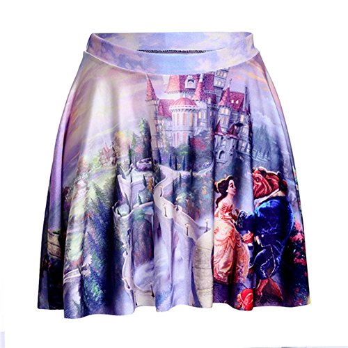 Women's Printed Cartoon Beauty and the Beast Pleated Skater Skirt Slim Fit One Size