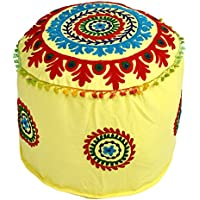 Icrafts India Indian Vintage Ottoman Pouf Cover,Ottoman, Living Room Foot Stool Cover,Decorative |Handmade|Home Chair Cover 14x22x22 Inch