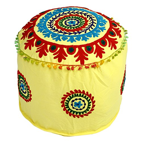 Icrafts India Indian Vintage Ottoman Pouf Cover,Ottoman, Living Room Foot Stool Cover,Decorative |Handmade|Home Chair Cover 14x22x22 Inch by Icrafts India