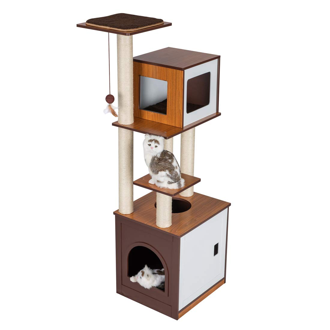 Good Life 60'' Modern Design Wood Deluxe Cat Tree Furniture Kitten House Condo with Washroom for Small to Lager Cats Climbing Tower w/Scratching Post PET594 by GOOD LIFE USA