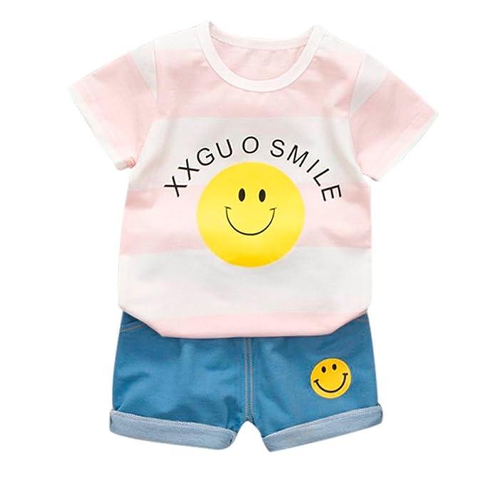 4d4198a49b93e Morwind Completi Estivi Ragazza Bambini Neonati A Strisce Sorriso Lettera  Stampa T-Shirt Top +