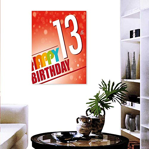 - Anyangeight 13th Birthday The Picture Home Decoration Retro Style Teenage Party Invitation Graphic Design Bokeh Effect Rays Wall Stickers 16