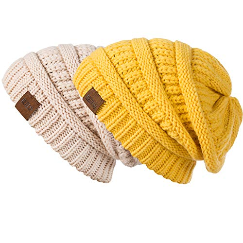 REDESS Slouchy Beanie Hat for Men and Women 2 Pack Winter Warm Chunky Soft Oversized Cable Knit Cap (Beige&Ginger)