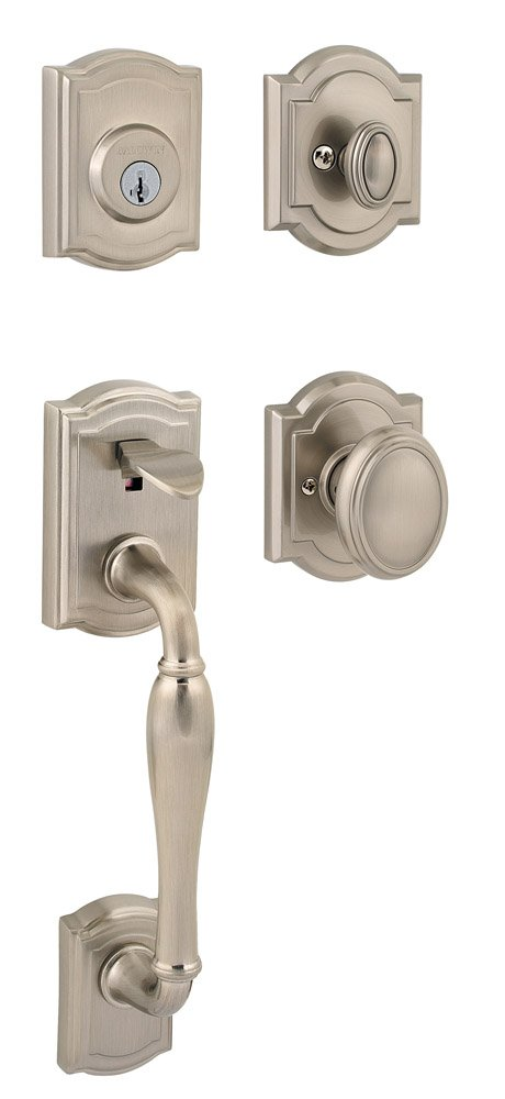 Baldwin Prestige Wesley Single Cylinder Handleset with Carnaby Knob featuring SmartKey in Satin Nickel