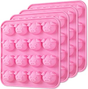 Newk Piggy Chocolate Silicone Mold, 4 Packs 16- Cavity Pig Face Emoticons Piglet Candy Molds for Jelly, Fondant, Hard Candy, Keto Fat Bombs, Resin