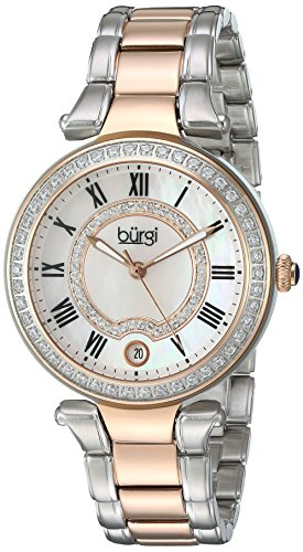 Burgi Women's White Mother-of-Pearl Dial with Swarovski Crystal Accents and Two-Tone Stainless Steel Bracelet Watch BUR165TTR