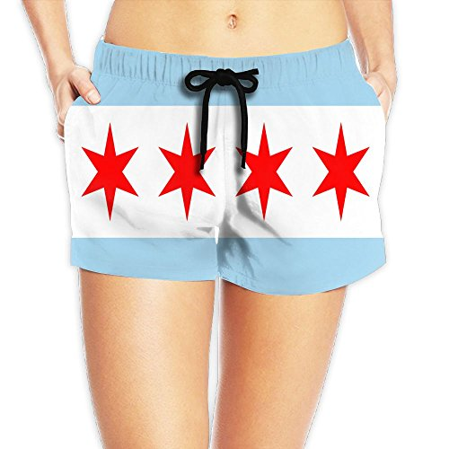 Chicago City Flag Women's Casual Beach Shorts Quick-Drying Swim Surf - Chicago Shorts Flag