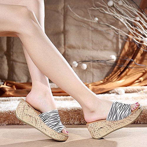 Btrada Donna Peep Toe Platform Scivolo Antiscivolo Zeppa Sandali Da Spiaggia Zebra Stripe