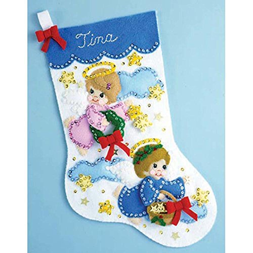 Angel Embroidery Designs - Design Works Felt Embroidery Applique kit Stocking - Angels On Clouds