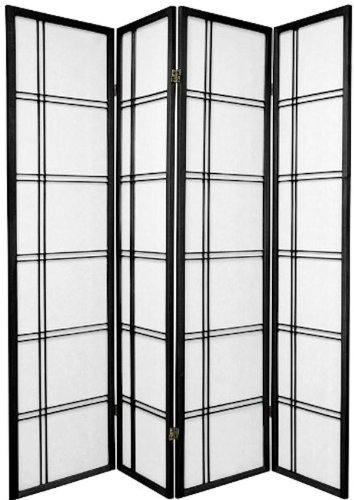 3 and 4 Panel Room Dividers in Black, Cherry, Natural, and White Color. (3 Panel Cherry)