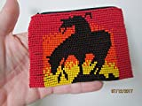Hand beaded glass seed beads end of the trail design. RED YELOW WHITE BLACK native american style.zippered coin purse credit card holder pouch bag END OF THE TRAIL