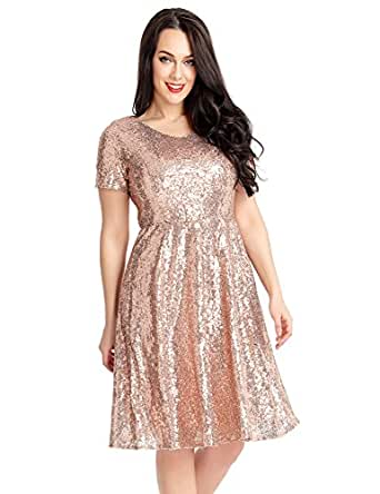 ACKKIA Womens Sequin Cocktail Party Short Sleeves ...