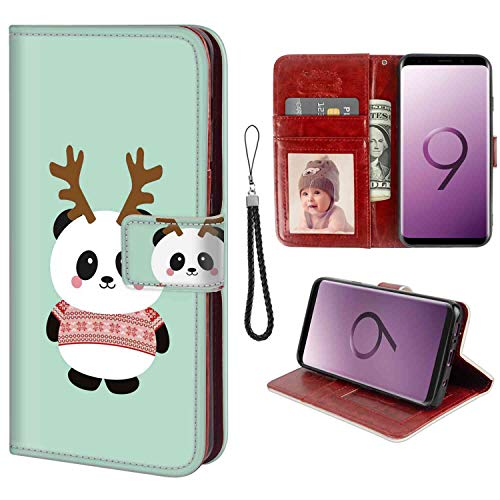 (Wallet Case Compatible Samsung Galaxy S9 Plus 6.2 Version Antler Panda Wrist Chain)