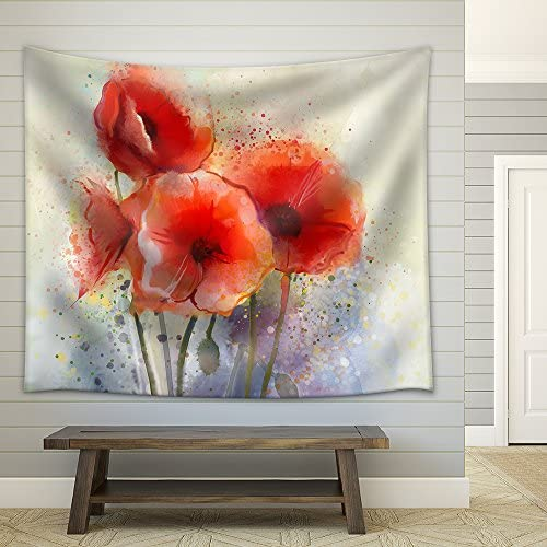 Water Color Red Poppy Flowers Painting Flowers in Soft Color and Blur Style for Background Vintage Painting Flowers Fabric Wall