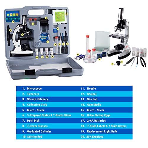 AmScope – M30-ABS-KT2-W-WM 1200X 52-pcs Kids Student Beginner Microscope Kit with Slides, LED Light, Storage Box and…