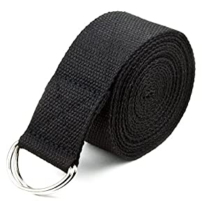 Well-Being-Matters 51vT3BQ4eeL._SS300_ 10-Foot Extra-Long Cotton Yoga Strap with Metal D-Ring by Crown Sporting Goods (Black)