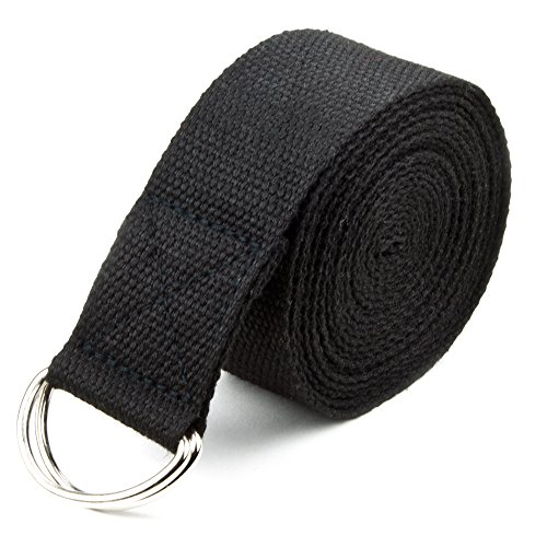 8-foot Cotton Yoga Strap with Metal D-Ring by Crown Sporting Goods (Black)