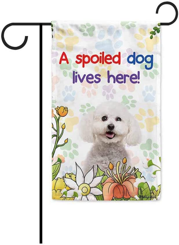 BAGEYOU A Spoiled Dog Lives Here Flowers Spring Summer Garden Flag Bichon Frise Paw Print Home Decor Banner for Outside 12.5 X 18 Inch Printed Double Sided