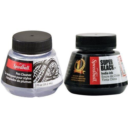 (Speedball 2-Ounce Pen Cleaner & Speedball 2-Ounce India Ink, Super Black)