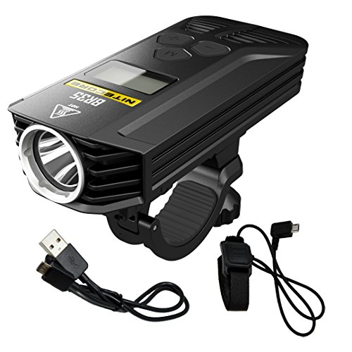 Nitecore BR35 1800 Lumen Dual Beam OLED Display Rechargeable Bicycle Headlight with Remote Control, Quick-release Mount and LumenTac Charging Cable