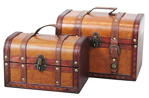 Vintiquewise(TM) Decorative Wood Leather Treasure Box (Set of 2) (Small Storage Baskets With Lids)