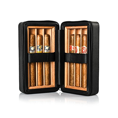 - Jamestown Cigar Barcelona Leather Travel Cigar Case - Handmade Cedar-Lined Travel Case Wrapped in Soft Synthetic Leather - Holds up to 6 Full-Size Cigars