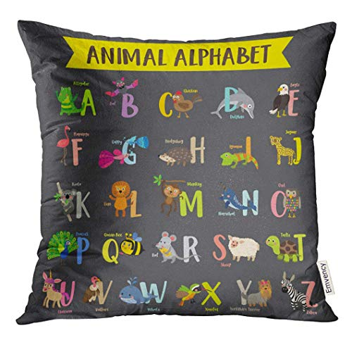 Murada Throw Pillow Cover Kid Cute Colorful Children Zoo Z Alphabet Learning English Vocabulary with Dark Animal Decorative Pillow Case Home Decor Square 18x18 Inches Pillowcase -
