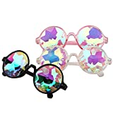 Search : YOOSKE Kaleidoscope Glasses Round Sunglasses for Women Men Rainbow Prism Sun Glasses Mirrored Steampunk Goggles with Sunglasses Cloth Bag